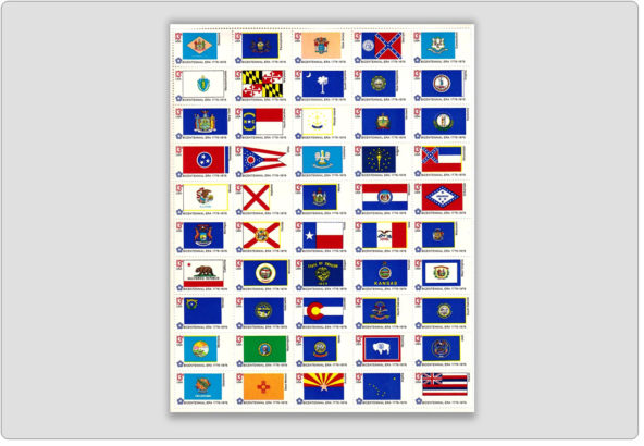 Bicentennial State Flags-Stamps Full Sheet 50