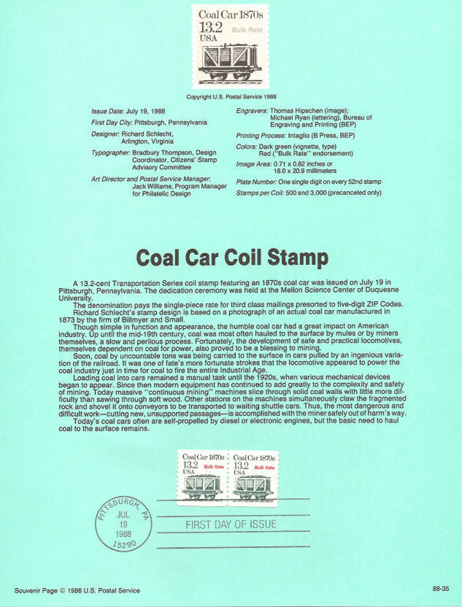 Coal Car Coil Stamp USPS Souvenir Page