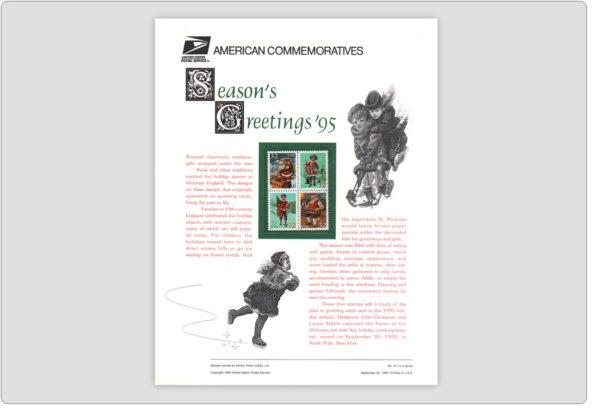 USPS Commemorative Seasons Greetings 1995 Stamps Panel