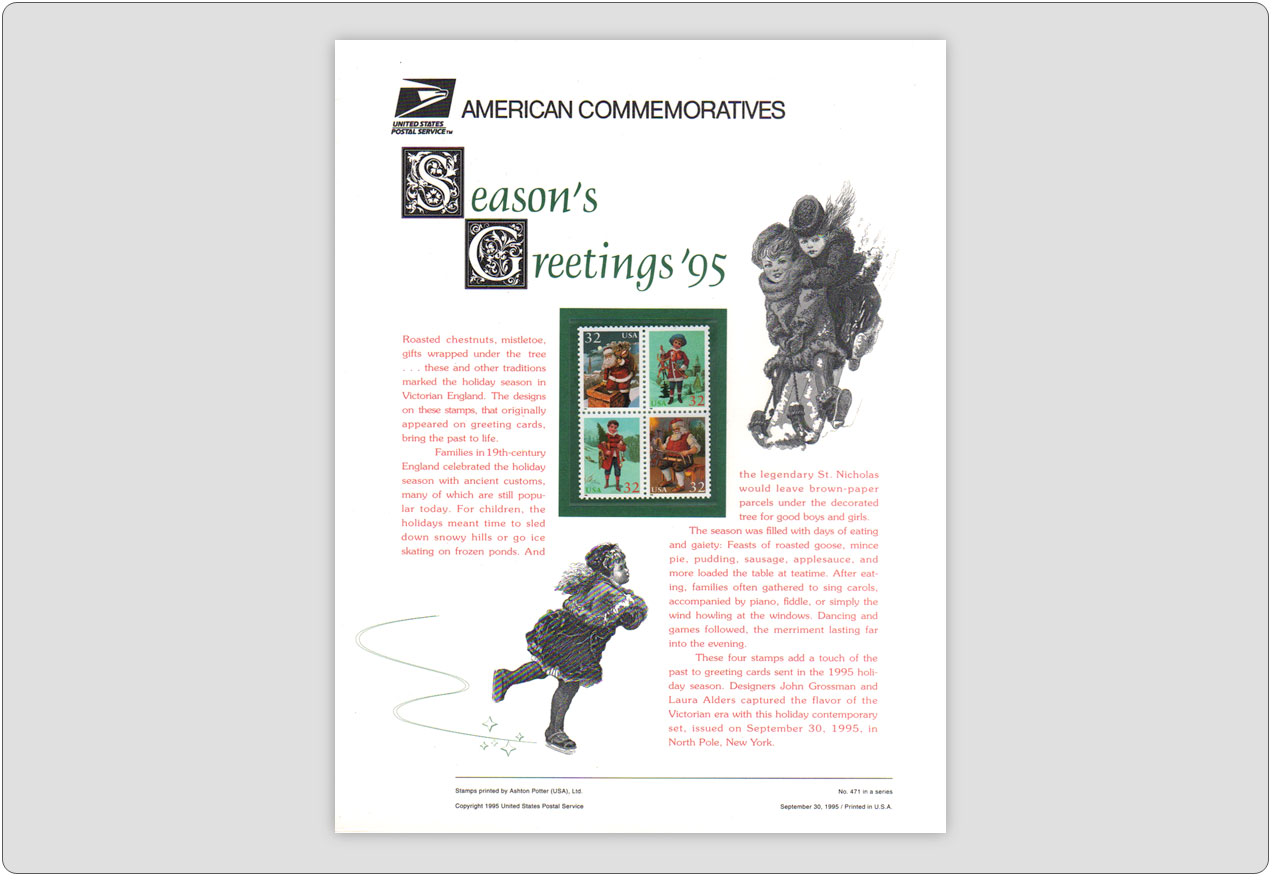 USPS Commemorative Seasons Greetings 1995 Stamps Panel