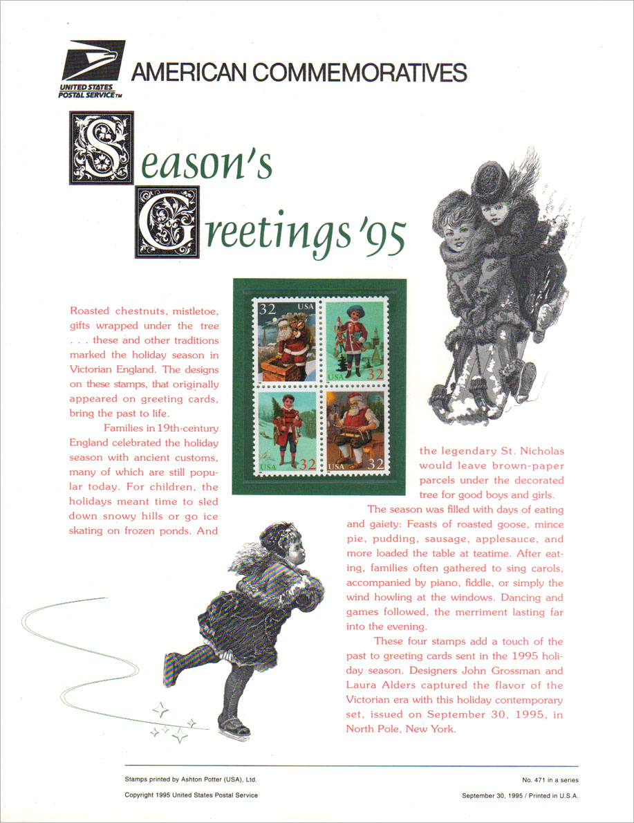 USPS Commemorative Seasons Greetings Stamps Panel