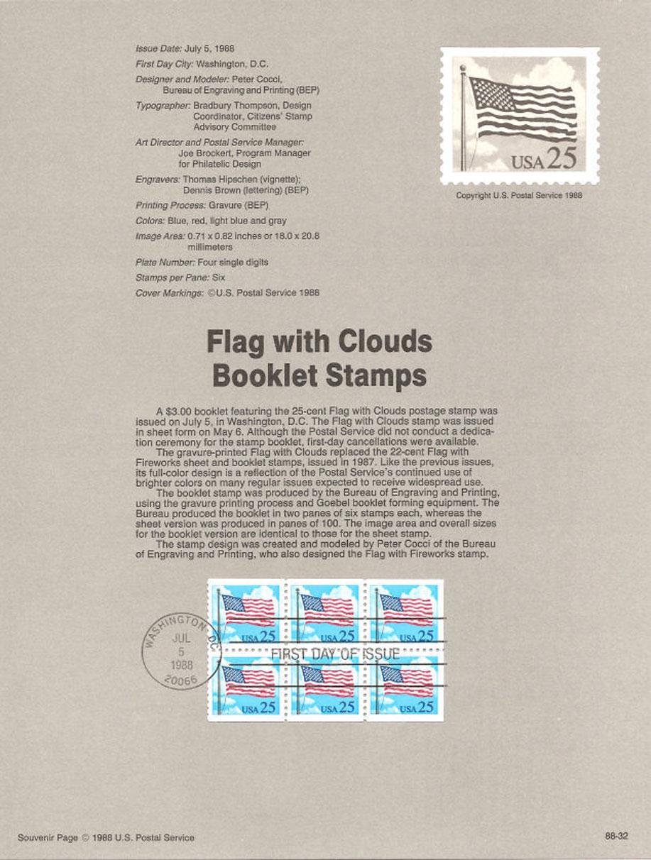 Flag Stamp Booklet USPS Souvenir Page