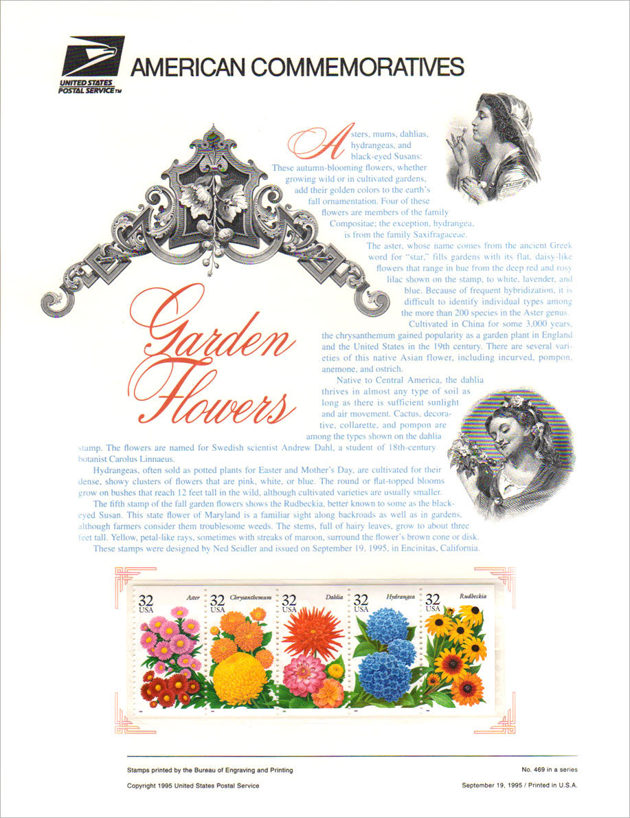 USPS Commemorative Garden Flowers Stamps Panel