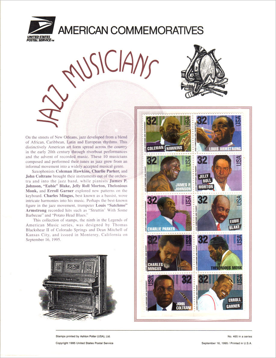 Jazz Musicians Stamps - Commemorative Stamp Panel 1995