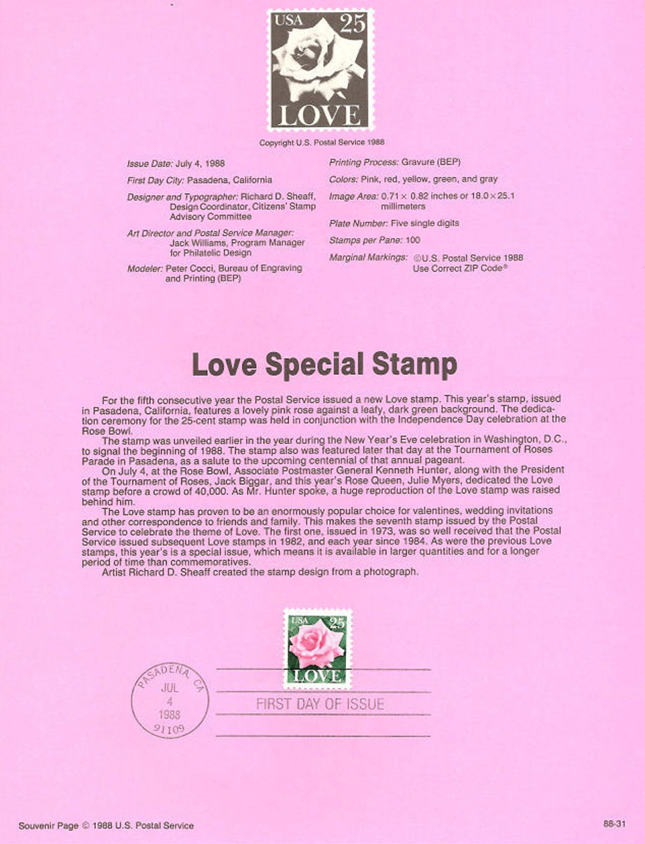 Love Special Stamp USPS Souvenir Page
