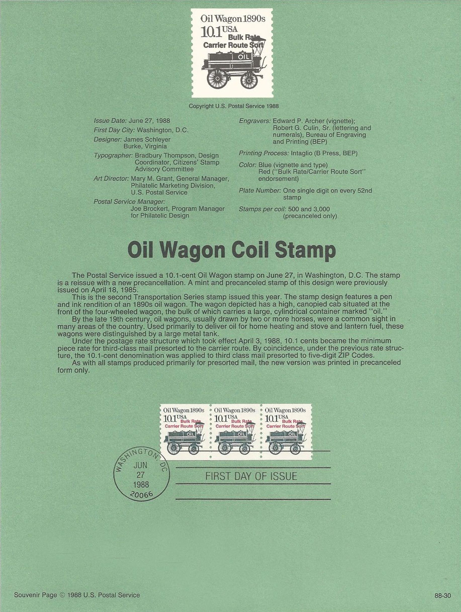 Oil Wagon Coil Stamp USPS Souvenir Page