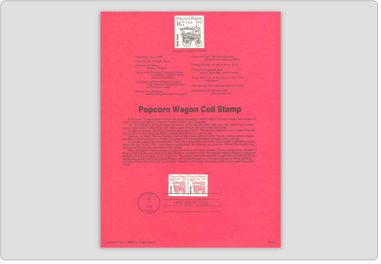 Popcorn Wagon Stamp USPS Souvenir Page