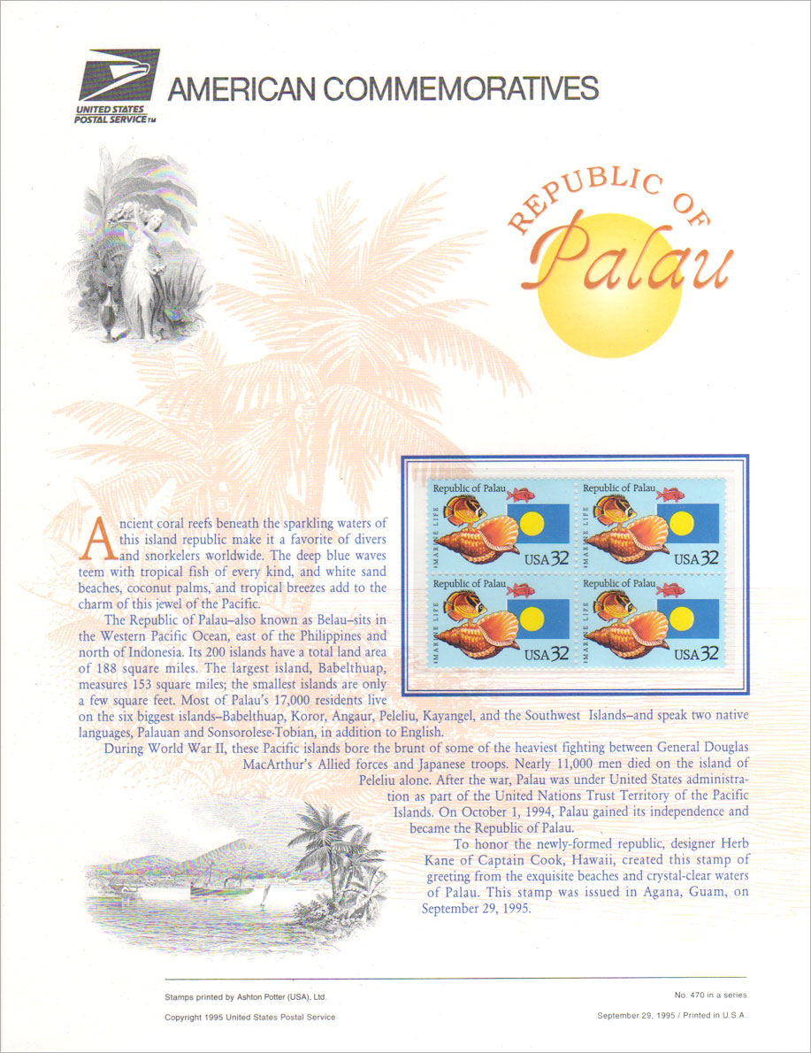 Commemorative Republic of Palau Stamps Panel Large