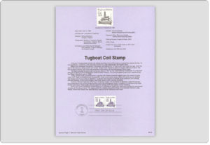 Tugboat Coil Stamp USPS Souvenir Page