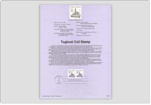 Tugboat Coil Stamp USPS Souvenir Page