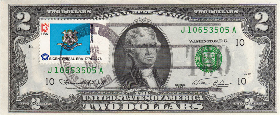 Two Dollar Bill Uncirculated First Day Issue Cancelled Connecticut State Flag Stamp