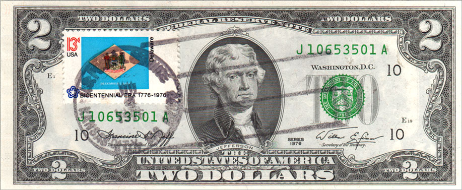 Two Dollar Bill Uncirculated First Day Issue Cancelled Delaware State Flag Stamp