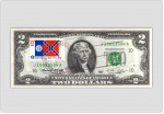 Two Dollar Bill Uncirculated First Day Issue Cancelled Georgia State Flag Stamp