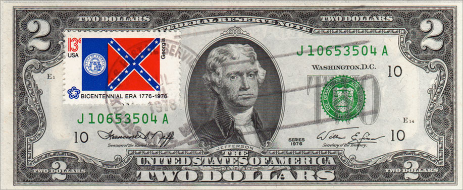 Georgia Flag Stamp 2 Dollar - Two Dollar Bill Uncirculated First Day Issue Cancelled Georgia State Flag Stamp