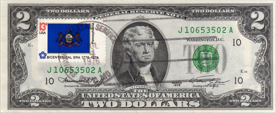 Two Dollar Bill Uncirculated First Day Issue Cancelled Pennsylvania State Flag Stamp
