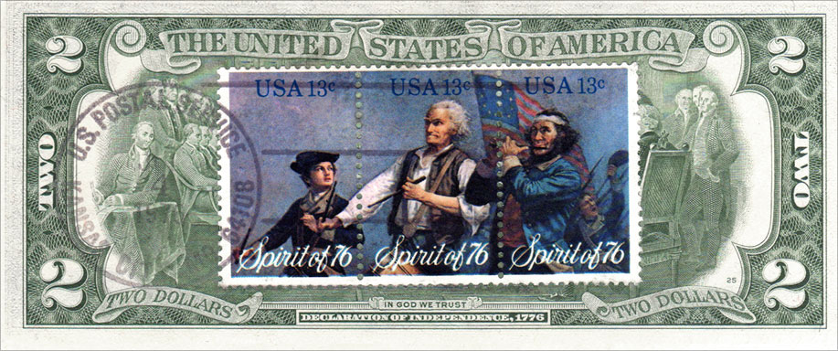 Two Dollar Bill Uncirculated First Day Issue Cancelled Spirit of 76 Stamps Back