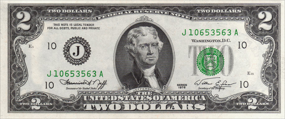 Two Dollar Bill Uncirculated First Day Issue Cancelled Spirit of 76 Stamps Front