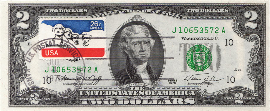 2 Dollar US Airmail Stamp - Bicentennial Two Dollar Bill Uncirculated First Day Issue Cancelled US Airmail Stamp