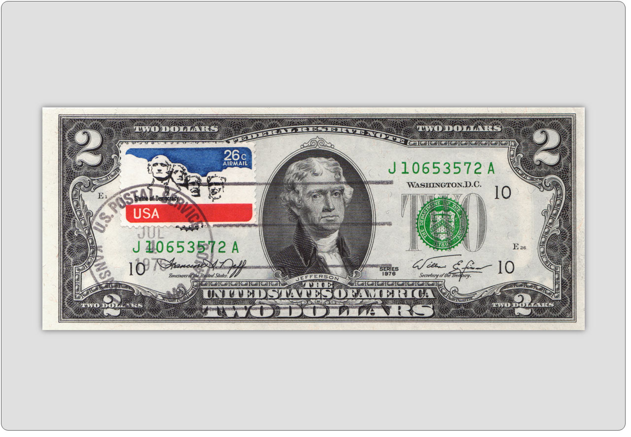 Two Dollar Bill Uncirculated First Day Issue Cancelled US Airmail Stamp
