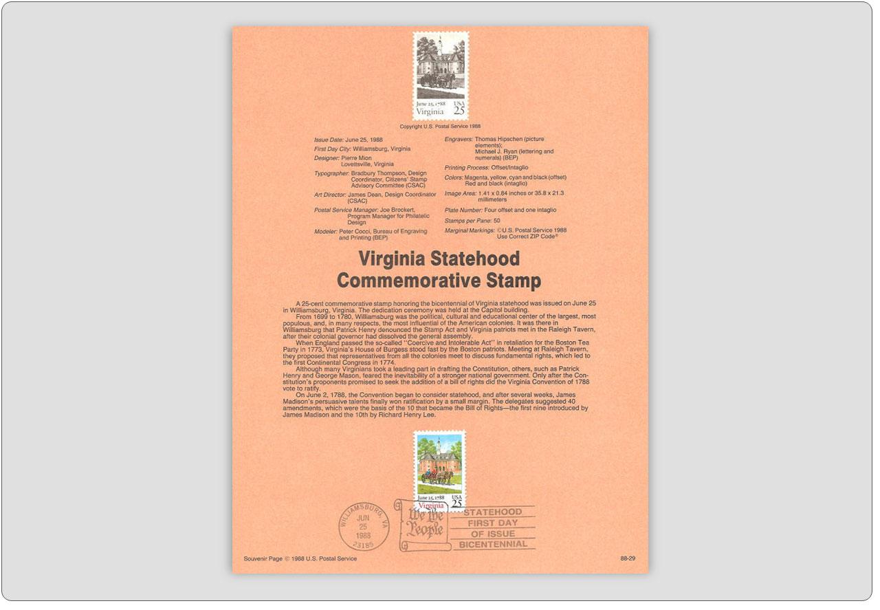 Virginia Statehood Stamp USPS Souvenir Page
