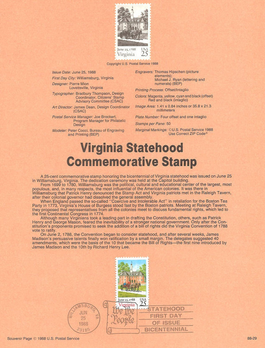Virginia Statehood Stamp USPS Souvenir Page