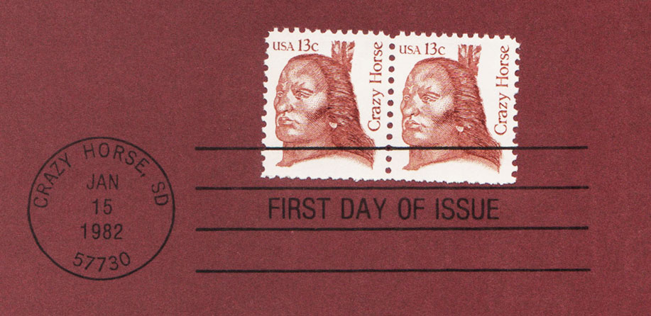 USPS Souvenir Page 13c Chief Crazy Horse Stamp Detail