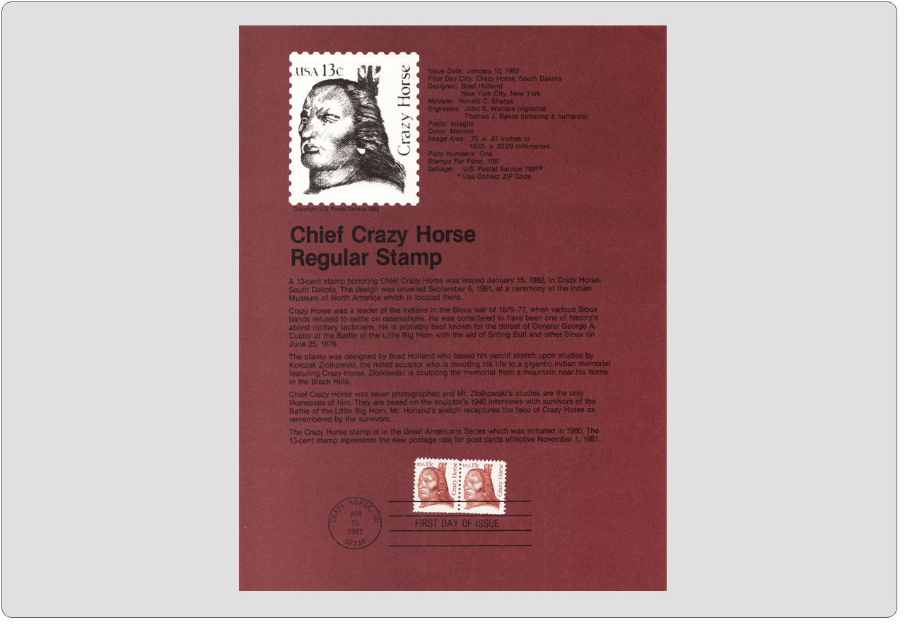 #8203 13c Chief Crazy Horse Stamp - Scott #1855 USPS Souvenir Page