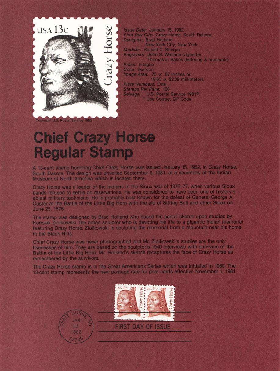USPS Souvenir Page 13c Chief Crazy Horse Stamp