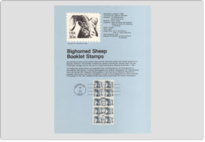 #8201 20c Bighorn Sheep Booklet Stamps - Scott #1949a USPS Souvenir Page