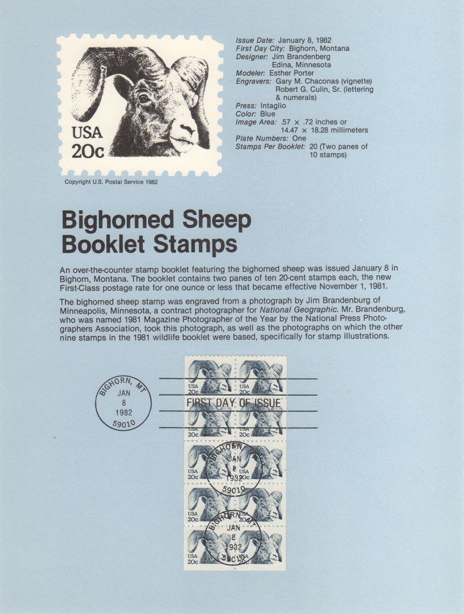USPS Souvenir Page 20c Bighorn Sheep Booklet Stamps