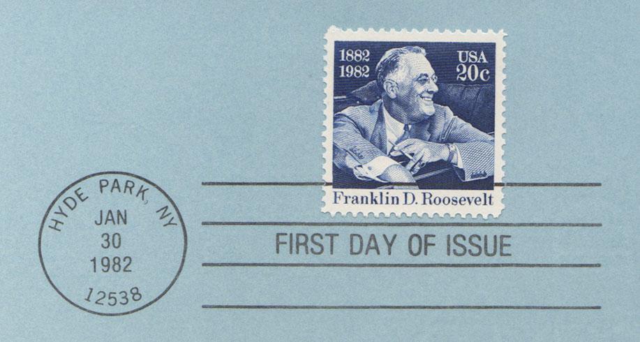 USPS Souvenir Page 20c Franklin D Roosevelt Stamp Detail