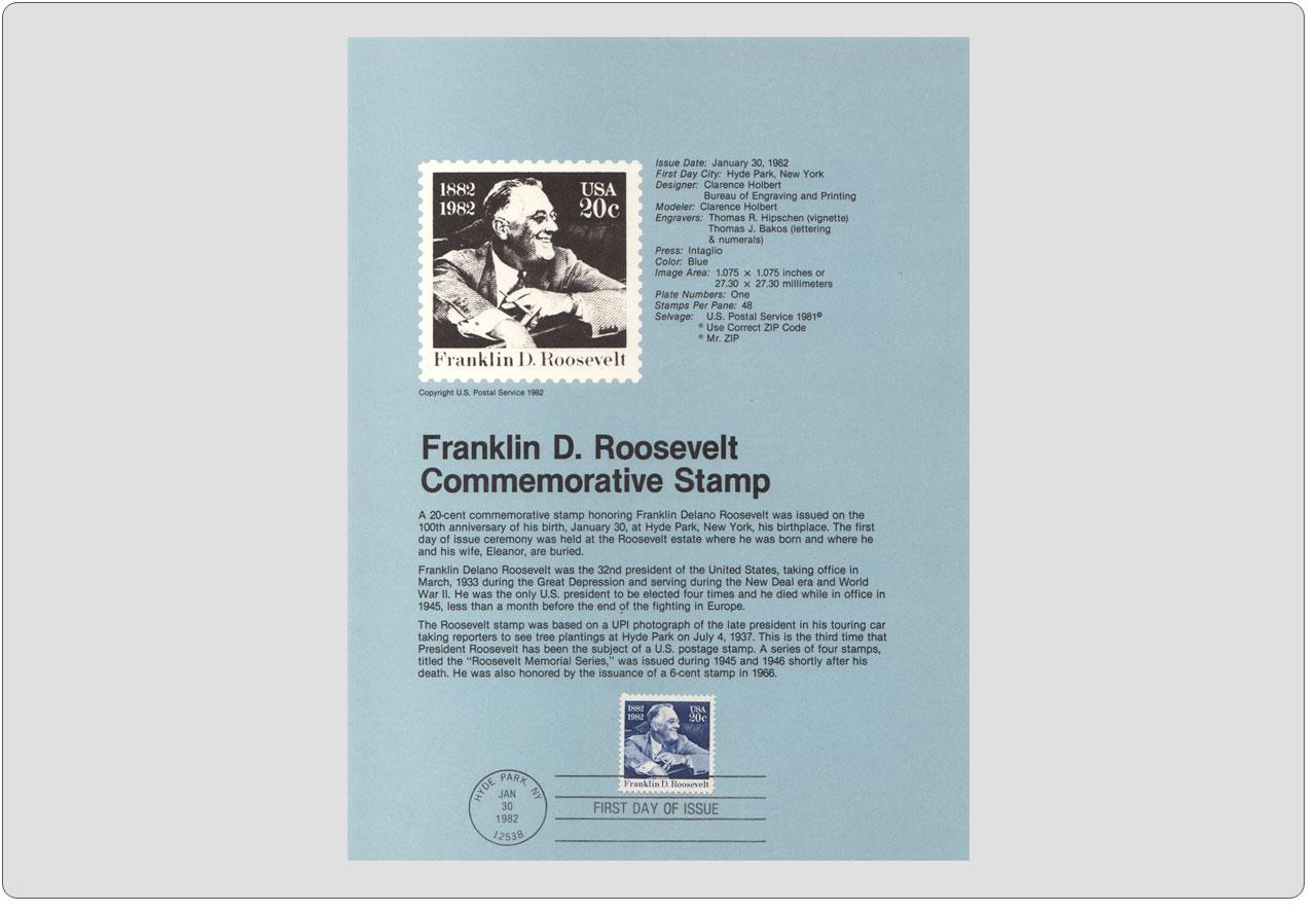 #8205 20c Franklin D Roosevelt Stamp - Scott #1950 USPS Souvenir Page