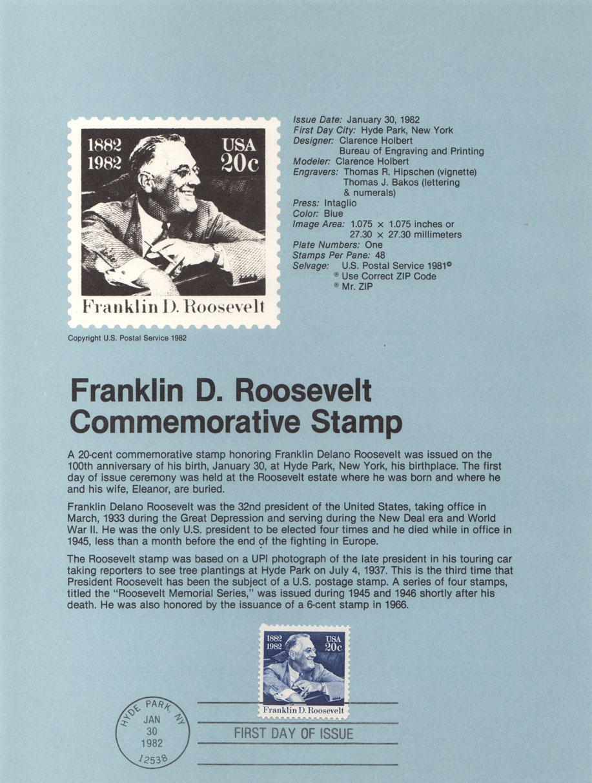 USPS Souvenir Page 20c Franklin D Roosevelt Stamp