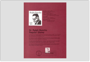 #8202 20c Ralph Bunche Stamp - Scott #1860 USPS Souvenir Page