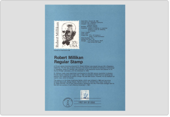 #8204 37c Robert Millikan Stamp - Scott #1866 USPS Souvenir Page