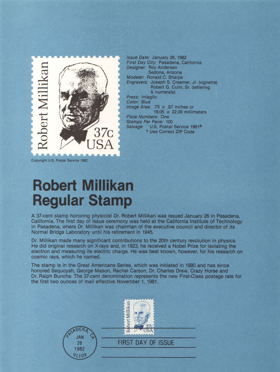 USPS Souvenir Page 37c Robert Millikan Stamp