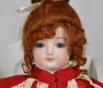 Jumeau French Antique Bisque Reproduction Doll with Red Dress